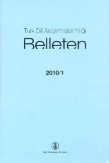 Türk Dili Araştırmaları Yıllığı: Belleten 2010/I, 0