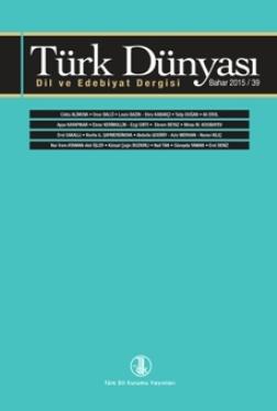 Türk Dünyası Dil ve Edebiyat Dergisi: Bahar 2015/ 39. sayı, 2016