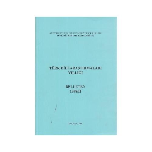 Türk Dili Araştırmaları Yıllığı: Belleten 1998-II, 2004