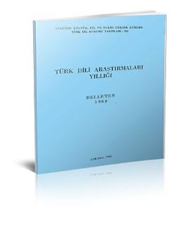 Türk Dili Araştırmaları Yıllığı: Belleten 1988, 1994