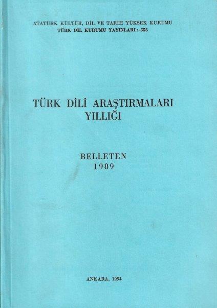 Türk Dili Araştırmaları Yıllığı: Belleten 1989, 1994